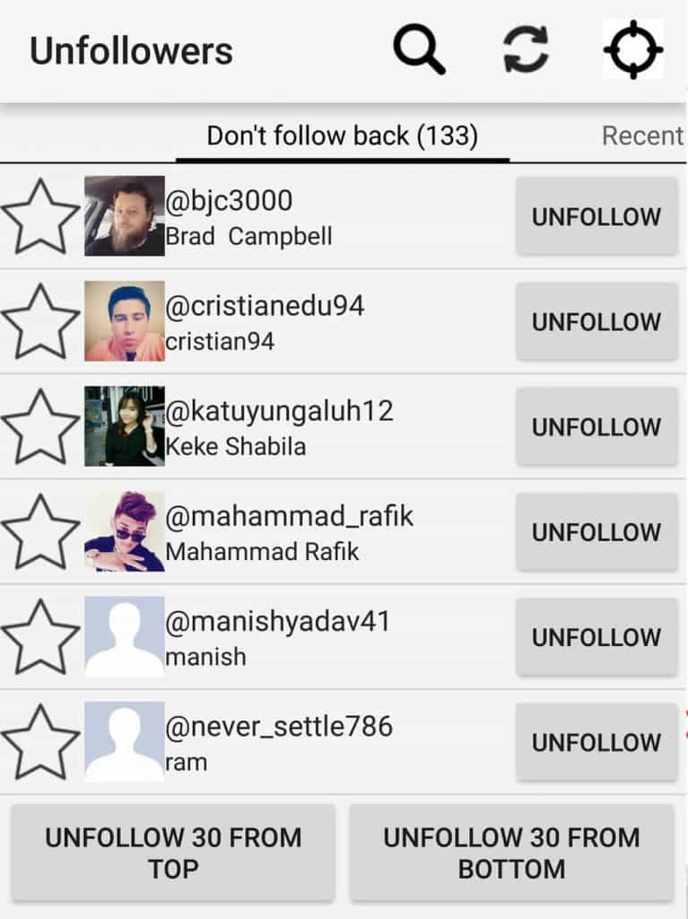 unfollowing